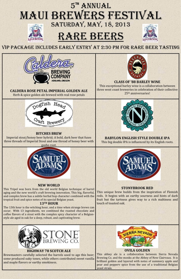 2013 Maui Brewers Festival Rare Beer List