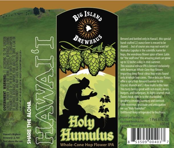 Big Island Brewhaus Holy Humulus IPA label