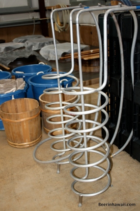 Homebrewers should be familiar with these. Big wort chillers are used to help regulate the temperature in the vats. Yeast is also pitched into the koji rice and allowed to grow before getting mixed in with the sweet potatoes.