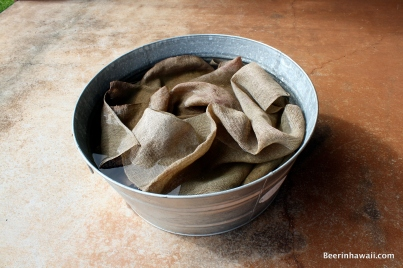 Burlap sacks are soaked in water to help with the steaming process.