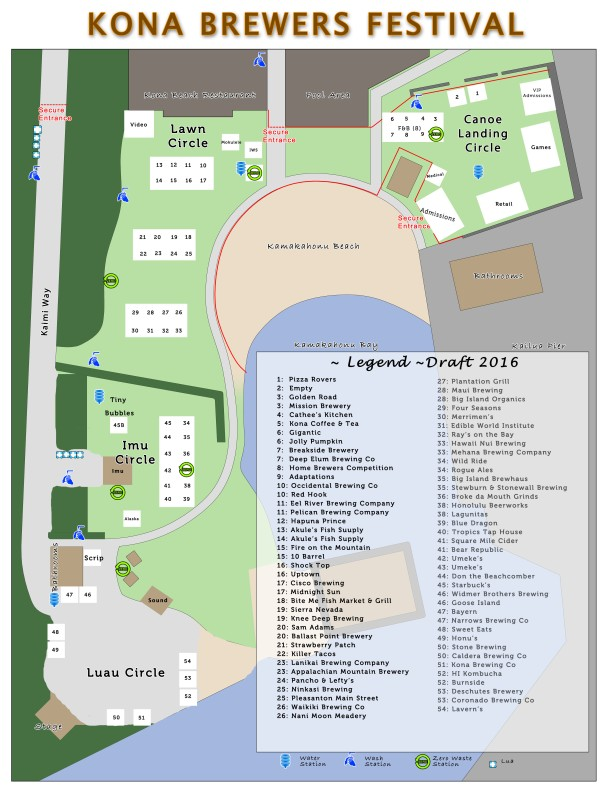 2016 Kona Brewers Festival Map