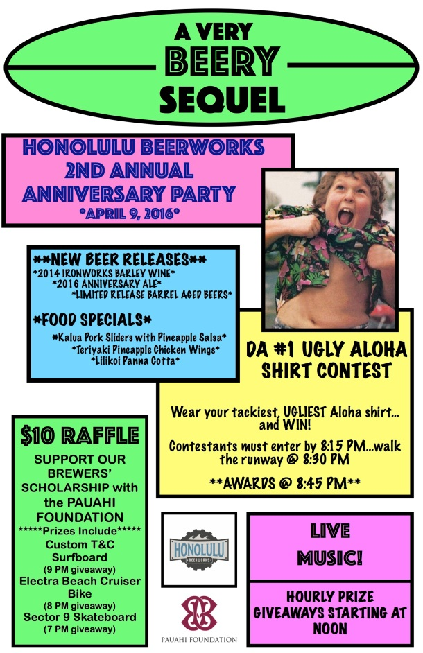 Honolulu Beerworks 2nd anniversary party flyer