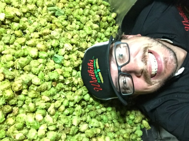Joe Lorenzen Waikiki Brewing Overnight IPA fresh hops
