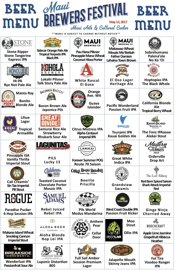 2017 Maui Brewers Festival Beer List